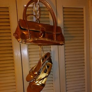 Shoes - Gold purse an gold wrap ankle Sandles